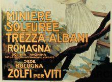 Mario Borgoni Miniere solfuree Trezza-Albani , 1908 c. stampa litografica a colori su carta 200 x 140 cm