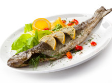 Roast trout and vegetables