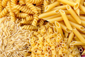 Four kinds of italian pasta. Food background.